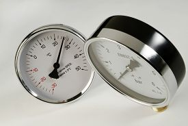 picture of barometer  - industrial barometer and thermometer on a white background - JPG
