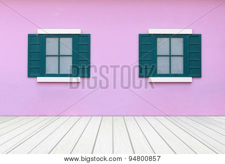 Windows With Wall And Wood Floor