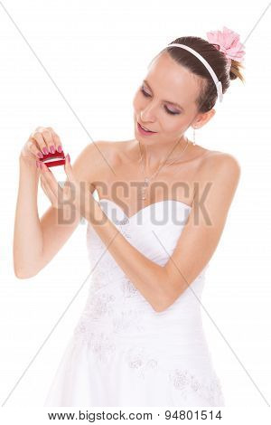 Excited Bride Woman Opening Engagement Ring Box.