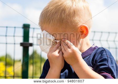 Crying Unhappy Little Boy Wiping His Eyes