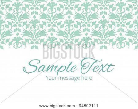 Vector abstract green ikat horizontal border greeting card invitation template