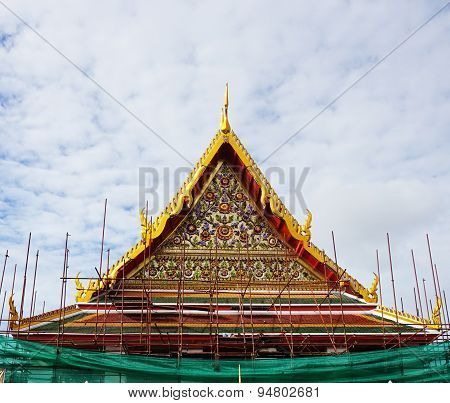 Construction Site,  Church Of  Ancient Temple In Bangkok
