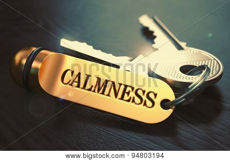 Calmness Concept. Keys with Golden Keyring.