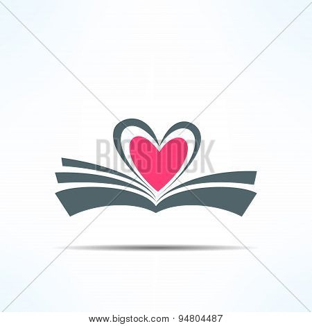 Vector book icon with heart made of pages. Love reading concept
