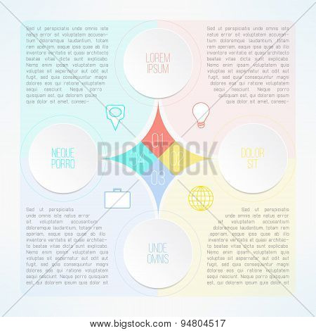 Vector infographic template with circles suitable for business presentations, timelines and reports.