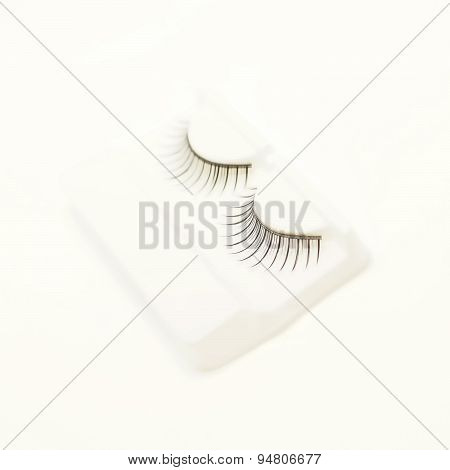False Lashes On White Background