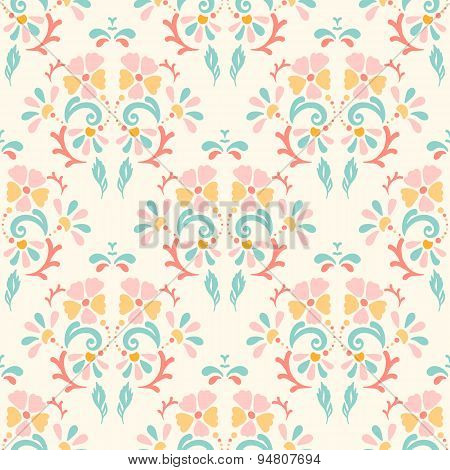 Seamless Retro Pattern Of Flowers On A Pastel Background