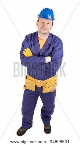 Worker in protective helmet.