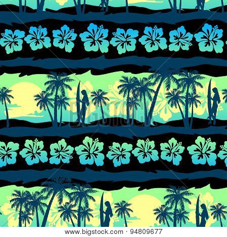 Tropical Frangipani With Green Sunrise Seamless Pattern