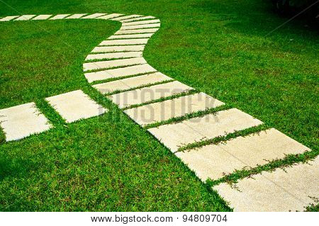 Gardening Stone Footpath With Grass