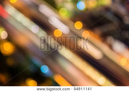 Abstract Circular Of Light Cars Bokeh In City At Night