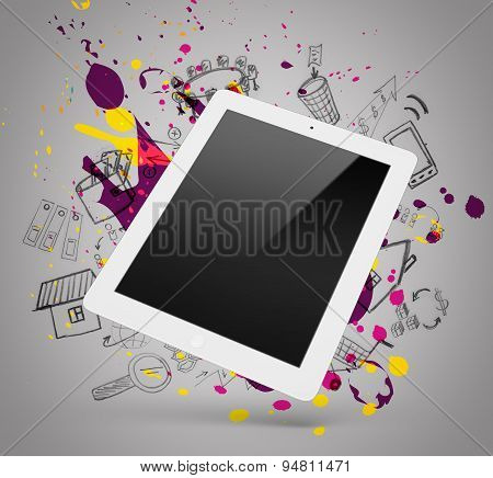 White tablet on a grey background with doodles and splatters