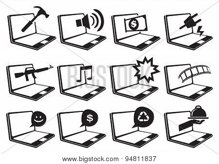 Laptop Computer And Internet Vector Icon Set