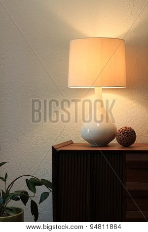 Modernist table and lamp.