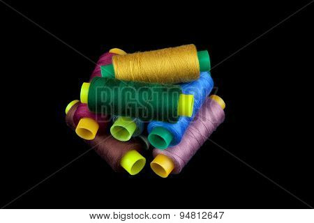 Coloured Thread Isolated On Black Background