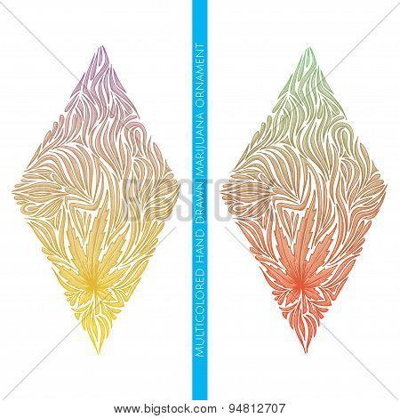 Abstract Ornament of Marijuana Multicolored