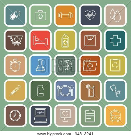 Health Line Flat Icons On Green Background