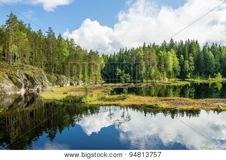 White Summer Clouds Reflecting On The Forest Pond