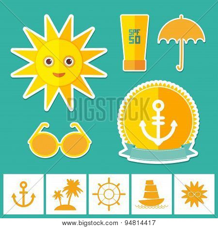Set of summer vacation beach. Umbrella sun ship sailing sunglasses cream anchor steering wheel islan