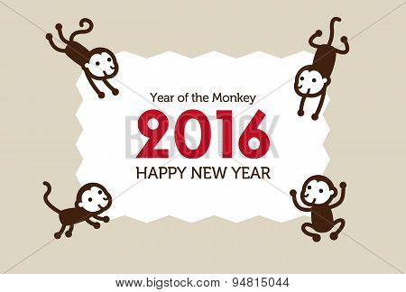 New Year Monkey Illustration