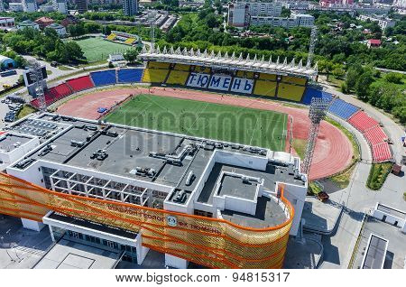 Aerial view of modern stadium. Tyumen. Russia
