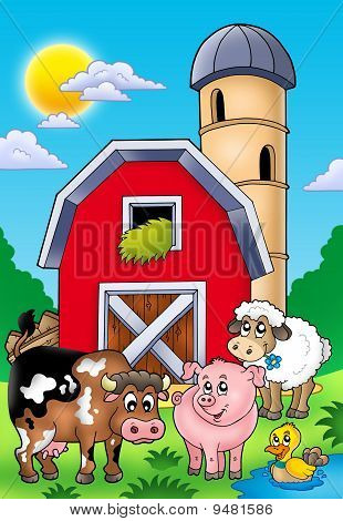 Big Red Barn With Farm Animals