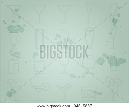 Summer cocktail party grunge background with cocktails line icons. Fresh Modern ice design for cockt
