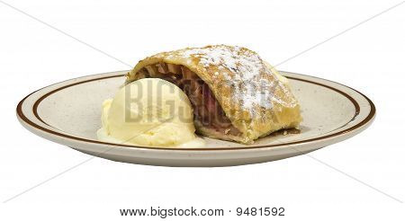 freshly baked apple strudel with vanilla ice cream