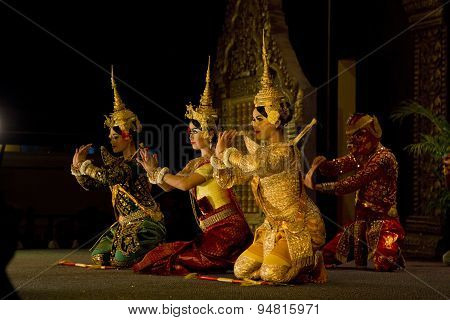 Traditional Cambodian Ramayana dance showing 4 dancers