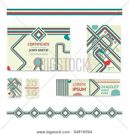 Set of corporate business stationery brochure templates. Abstract geometric background for flyer, re