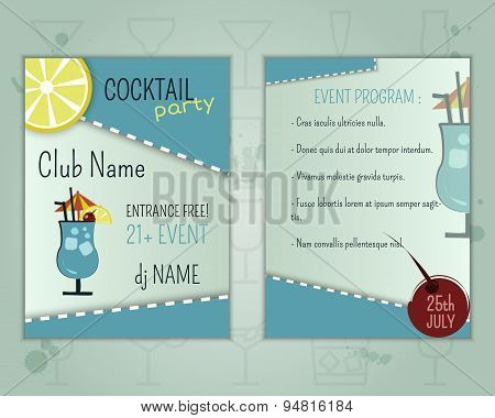 Summer cocktail party flyer layout template with blue lagoon cocktail and event program. Fresh Moder