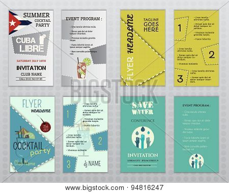 Set of flyer layout templates. Cocktail party, business, save water concepts. Easy to customize. Iso