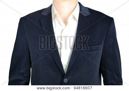 Close-up Velvet Navy Blue Suit Coat For Men, Isolated On White.