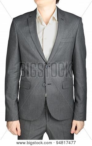 Dinner Jacket Gray Suit, Small Checkered Pattern, Isolated Over White.