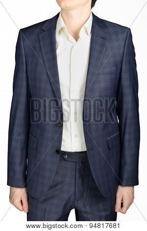 Unfastened Blue Plaid  Coat Suit Men Wedding Dress Bridegroom, Isolated Over White.