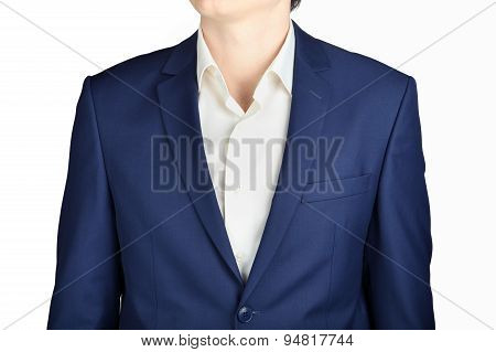 Close-up Navy Blue Suit Coat For Men,   Isolated Over White