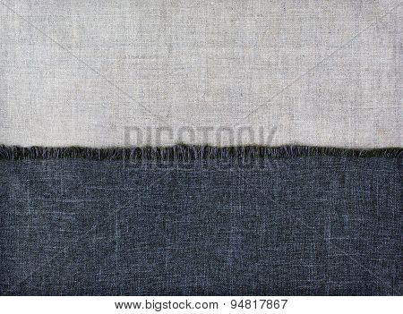 Background Half Of Textile Fabrics And Half Of Linen