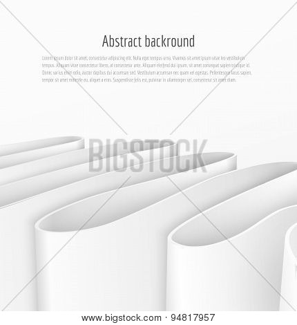 Abstract 3d white paper ribbon background
