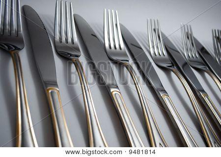 Metal knifes and forks