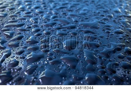 Blue Glass With Natural Water Drops