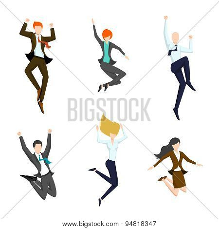 Jumping business people in the air. Happy and successful icons
