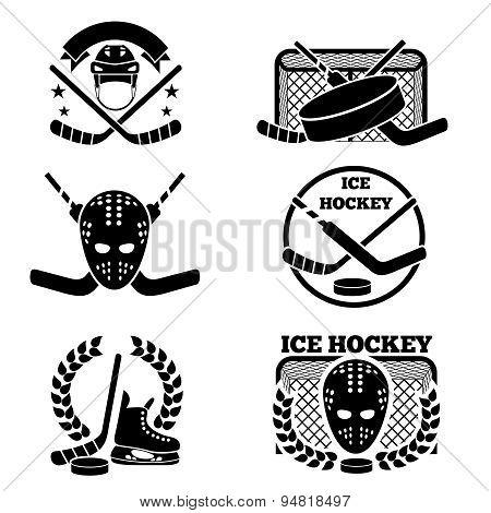Ice hockey emblem and logo set