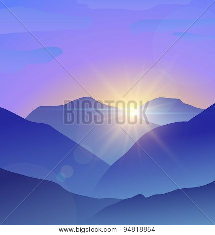 Abstract blue mountains landscape with lens flare nature background