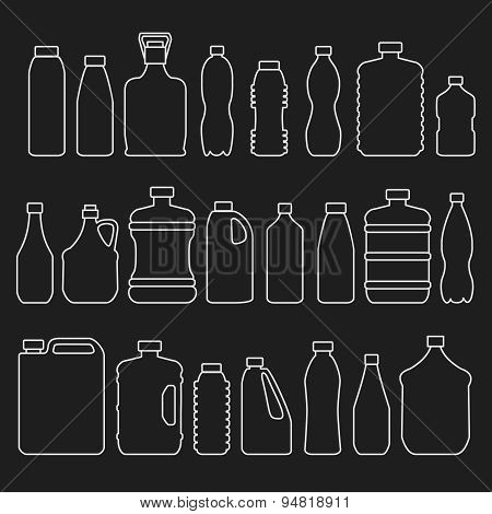 Line glass plastic bottles and other containers icons set