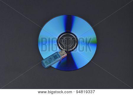 Flash Card Lying On A Disk On A Dark Grey Background
