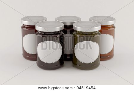 jars of jam over white background