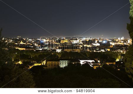 Panorama Of Rome At Night From Gianicolo