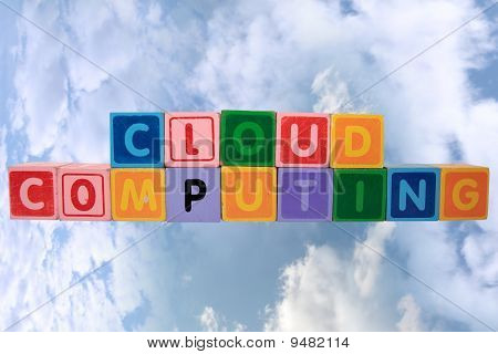 Cloud Computing In Toy Block Letters