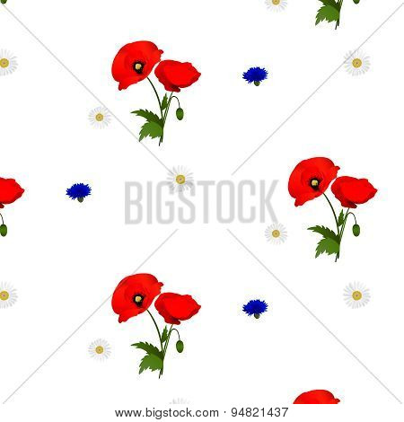 Seamless pattern with chamomile, cornflowers and poppies flowers
