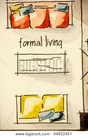 Freehand watercolor and ink floor plan illustration fragment of set of yellow and red sofas